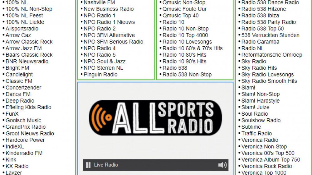 ALLsportsradio op Radio FM Online